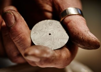 98-Damascus steel wildflower dial ready for etching finishing
